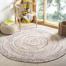 Safavieh Braided Collection BRD210B Handwoven Ivory and Multicolored Round Area Rug (4' Diameter)