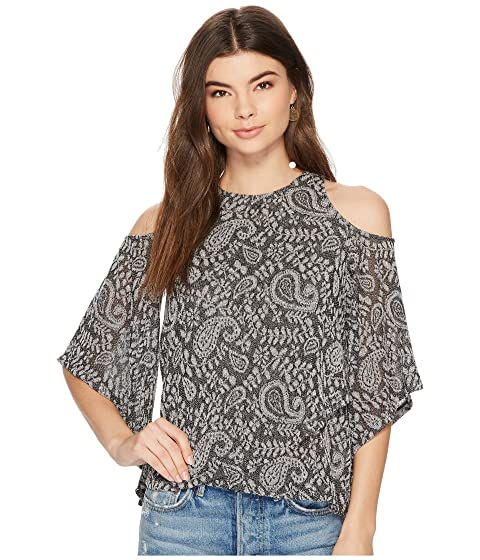 Lucky Brand Cold Shoulder Open Front Top Grey Multi Outlet Fake NnQ9xptmb7