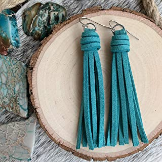 Tassel Earrings - Faux Suede Leather in Deep Turquoise Blue