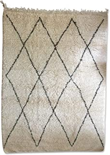 Original Berber Beni Ourain Rug - Handwoven 100% Wool - 6.5x5 ft - White and Black, Moroccan Rug, for Classic, Contemporary and Modern Interior, Oriental Carpet, Diamond Pattern, Handmade