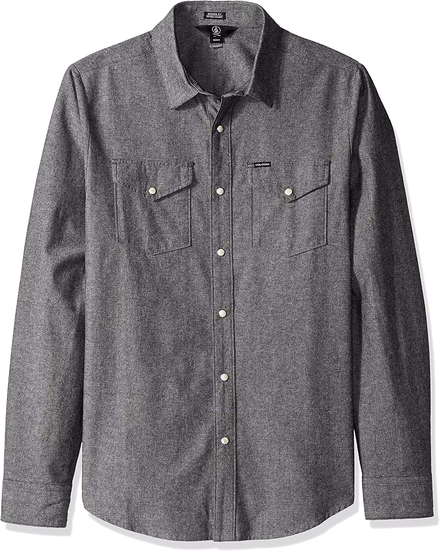 Volcom Men's Hayes Long Sleeve Modern Fit Woven Button Up Shirt