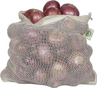 Reusable Cotton Net Produce Bags - Onion Storage Net Bags - Potato, Garlic Keeper - Eco-friendly, Bio-degradable & Washable Fruit, Vegetable & Produce Bags (3 X-Large)