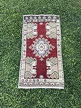 Vintage Tribal Handmade Turkish Rug, Rustic Anatolian Carpet Rug, Small Area Rug, Burgundy Oushak Rug, Persian Rug, 1'9