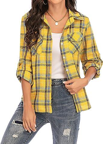 Camisa Cuadros Mujer Franela 100% Algodón Camisa Leñador Blusas Basiccon Botones Camisetas Cuello en V Manga Larga Casual Oficina Básico Vintage ...