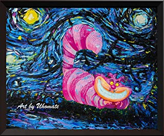 Uhomate Alice in Wonderland Cheshire Cat Alice Wonderland Vincent Van Gogh Starry Night Posters Home Canvas Wall Art Anniversary Gifts Baby Gift Nursery Decor Living Room Wall Decor A009 (18X24)