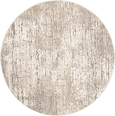 "Safavieh Spirit Collection SPR126E Modern Abstract Area Rug, 6'7"" x 6'7"" Round, Taupe / Ivory"