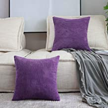 HOME BRILLIANT Set of 2 Decorative Pillows Cover Solid Striped Corduroy Plush Velvet Cushion Cover for Couch Sofa Bed, Egg...