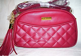Joy & Iman, Diamond Quilted Genuine Leather Crossbody Bag with RFID, Burgundy