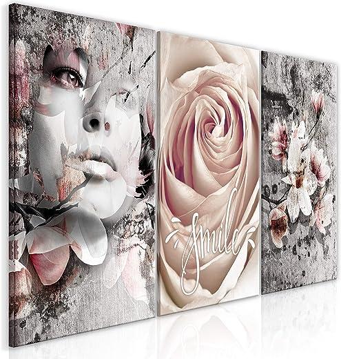murando – Bilder Abstrakt 120×60 cm Vlies Leinwandbild 3 TLG Kunstdruck modern Wandbilder XXL Wanddekoration Design Wand Bild – Blumen Rose…