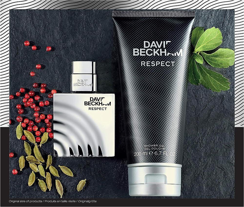 David beckham,confezione regalo uomo respect eau de toilette 40 ml e gel doccia bagnoschiuma 75 ml 99350060545
