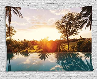 Ambesonne Hawaiian Tapestry, Home with Swimming Pool at Sunset Tropics Palms Private Villa Resort Scenic View, Wide Wall Hanging for Bedroom Living Room Dorm, 80