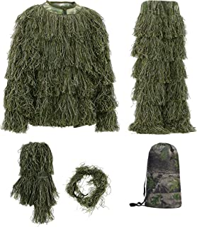 Auscamotek 5 in 1 Ghillie Suit for Hunting Airsoft Halloween L - XXL