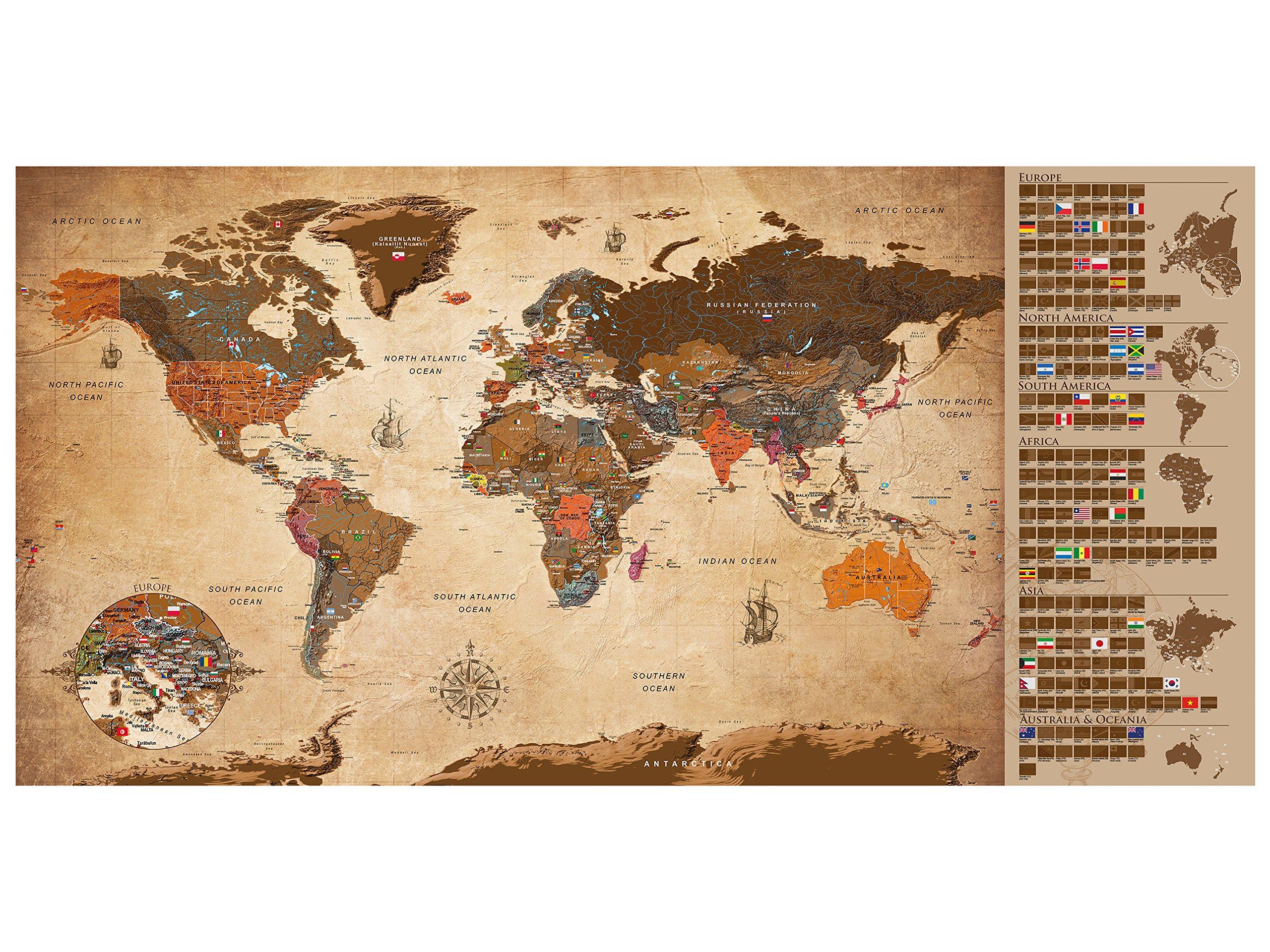 murando Mapamundi para rascar Mapa Mundial 100x50 cm Vintage Laminado (Posibilidad de Escribir y borrar) Mapa para rascar con Banderas Mapa del Mundo Macionales k-A-0228-o-b: Amazon.es: Juguetes y juegos