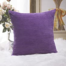 Home Brilliant Striped Corduroy Velvet Large Euro Sham Couch Throw Pillow Cover for Chair, 24 inch (60cm), Eggplant Purple