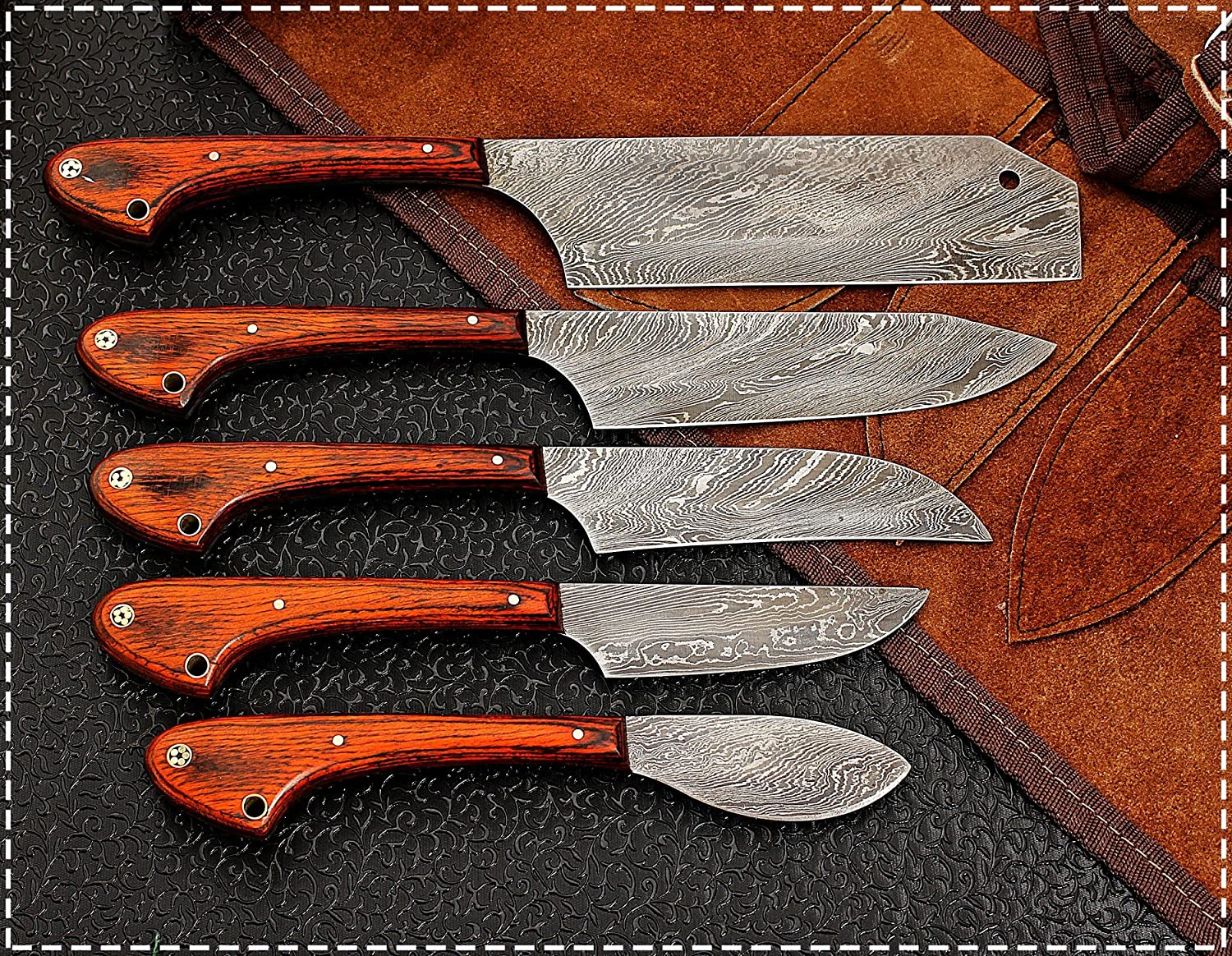1033 Custom Made Damascus Steel 5 pcs Professional Kitchen Chef Knife Set with 5 Pocket Case Chef Knife Roll Bag by GladiatorsGuild (Red) Red