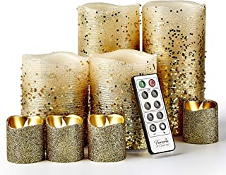 Flameless Candles Gold Candles Pillar Candles and Votive Candles, Furora LIGHTING Remote Controlled Battery Operated Candl...
