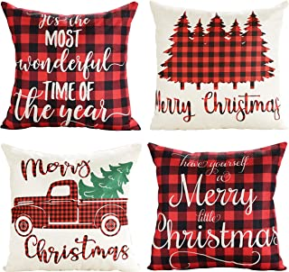 Lanpn Christmas 20x20 Throw Pillow Covers, Decorative Outdoor Farmhouse Buffalo Plaid Plad Merry Christmas Xmas Pillow Shams Cases Slipcovers Cover Set of 4 Couch Sofa