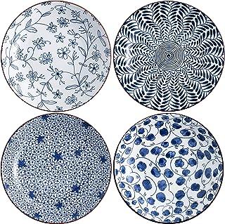 Swuut Keramisk salladstallriksset, blå och vit 20 cm serveringstallrikar blommor middag grunda tallrikar uppsättning med ...