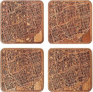 Toronto Map Coaster by O3 Design Studio, Set Of 4, Sapele Wooden Coaster With City Map, Handmade