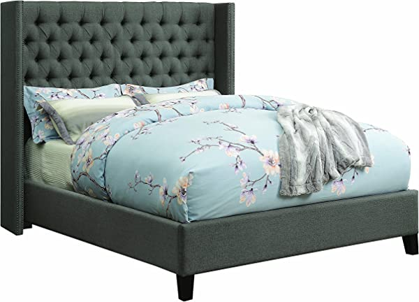 Benicia Upholstered Queen Bed With Demi Wings And Button Tufting Grey