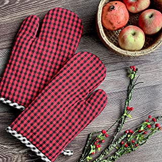 PIXEL HOME Cotton Microwave Oven Mitten for Microwave - Set of 2 PCS Oven Glove - Heat Resistant - Micro Check (Red & Black)