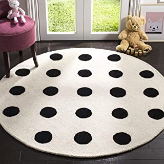 Safavieh Kids Collection SFK904D Handmade Ivory and Black Polka Dot Wool Round Area Rug (5' in Diameter)