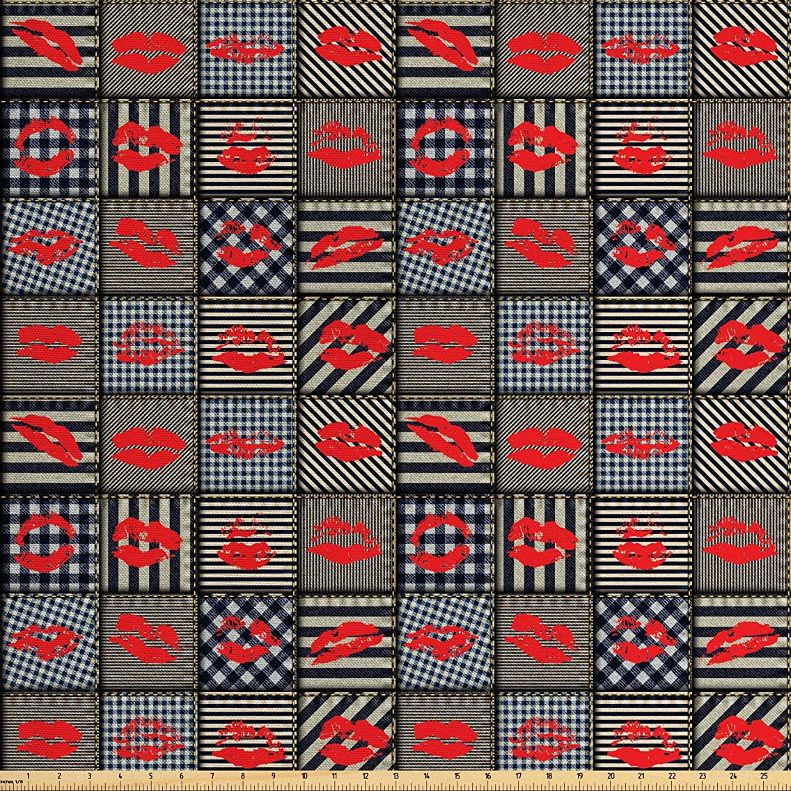 Ambesonne Fabric Fabric by The Yard, Sexy Woman Figure Kiss Lipstick Forms on Striped Houndstooth Groovy Backdrop, Decorative Fabric for Upholstery and Home Accents, 2 Yards, Black and Red