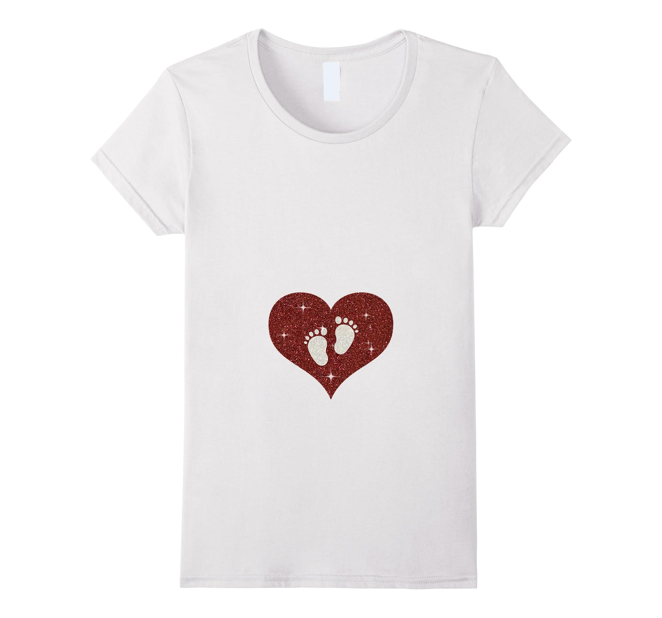 25e9abc95020c Womens Valentine Heart Baby Feet Tee Pregnancy Announcement T Shirt ...