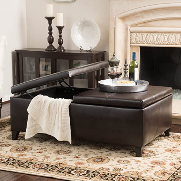 Christopher Knight Home 296892 Living Lannisport Dual Split Cover Top Storage Ottoman Brown PU