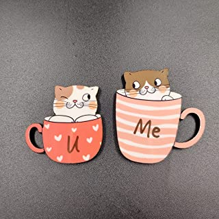 Bhai Please You and Me Wooden Fridge Magnet (Pack of 1) Valentine, Anniversary, Couple and Love Gift and Decoration