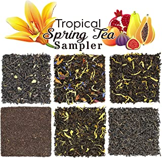 Tropical Spring Fruit Tea Sampler, Refreshing Loose Leaf Tea Assortment Featuring Mango, Apricot, Tropic Flower, Paradise, Black Currant, & Vanilla Black Teas - Approx. 90+ Cups