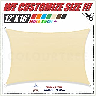 ColourTree 2nd Gen 12' x 16' Beige Sun Shade Sail Canopy Rectangle, Commercial Standard Heavy Duty, We Make Custom Size