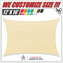 ColourTree 2nd Gen 12' x 16' Beige Sun Shade Sail CanopyRectangle, Commercial Standard Heavy Duty, We Make Custom Size