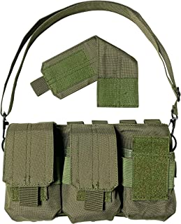 Strike Hard Gear Triple Molle Pouch Bandolier for Shorter Magazines and Clips - SKS, M1 Carbine, AR 20 Round, 308, Archangel and More