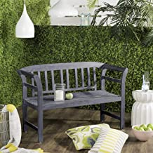 Safavieh PAT6742B Outdoor Collection Porterville Ash Grey 2 Seat Bench