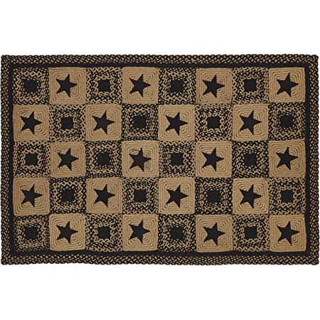 Ihf Home Decor Country Star Black Accent Durable Floor Carpet Multicolor Handcrafted For Living Room Bedroom Kitchen Porch Dormitory Braided Rectangle Area Rug 20 X 30 To 8 X10 8 X10