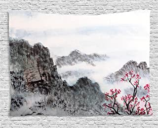 Ambesonne Asian Tapestry by, Traditional Chinese Painting Landscape Sakura Cherry Tree Cloudy Mountains, Wall Hanging for Bedroom Living Room Dorm, 60WX40L Inches, Seal Brown White Pink