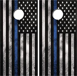 Cornhole Wraps Blue Line Distressed Flag Vinyl Decal Set Police LE