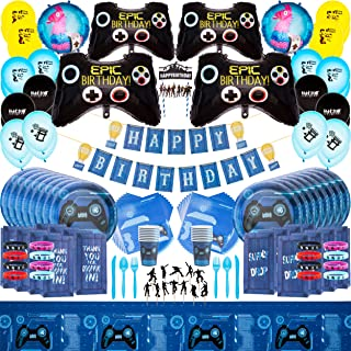 Video Game Party Supplies Kit - By Momma Sharks - Complete Party Kit for Birthday Gaming Decorations - Favours Cake Topper...
