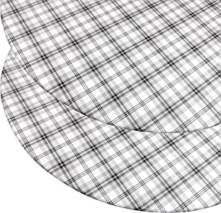 """Round Vinyl Tablecloth (2 Pack) with Stitched Elastic Edge for Snug Fit – Heavy Duty, Felt Back, Plaid Pattern Table Cover, Easy Clean Up – Gray, Black, White – Fits 45"""" - 56"""" Diameter Tables (2 Pack)"""