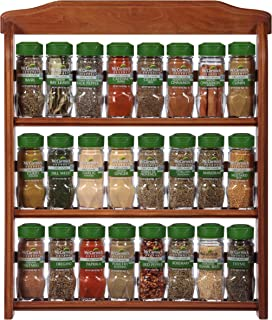 McCormick Gourmet  Three Tier Wood 24 Piece Organic Spice Rack (Spices Included, 3 Spice Rack Shelves, 24 Herbs & Spices), 27.6 oz