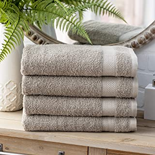 Welhome 100% Cotton Towel (Flax)- Set of 4 Bath Towels - Quick Dry - Absorbent - Soft - Ideal for Daily Use - 434 GSM - Ma...