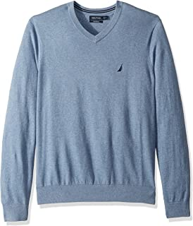 Men's Big and Tall Long Sleeve V Neck Jersey Sweater