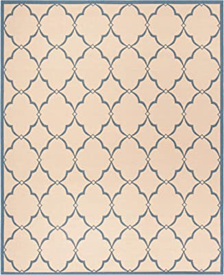 Safavieh Beach House Collection BHS125N Indoor/ Outdoor Area Rug, 8' x 10', Cream/Blue