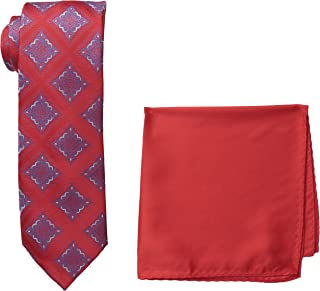 Men's Tall Extra Long Medallion Necktie and Solid Pocket Square