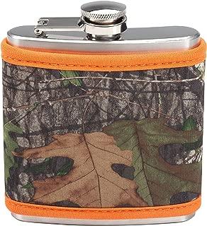 Mossy Oak Hunter Orange Camo Flask with Coozie