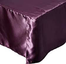 DaDa Bedding Quinceanera Satin Bed Skirt, California King, Plum