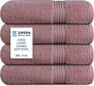 """Zuperia Bath Towels 27"""" x 54"""" Set of 4 Ultra Soft 600 GSM 100% Combed Cotton Large Bath Towels, Highly Absorbent Daily Usa..."""