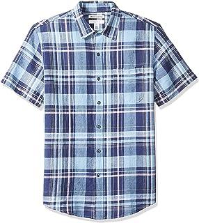 Amazon Essentials Slim-fit Short-Sleeve Linen Shirt Button-Down-Shirts Hombre