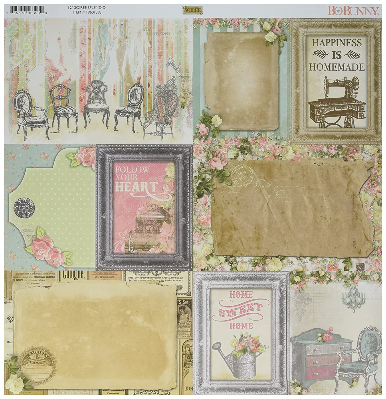 Bo Bunny 19601393 Soiree Double-Sided Cardstock (25 Sheets Per Pack), 12